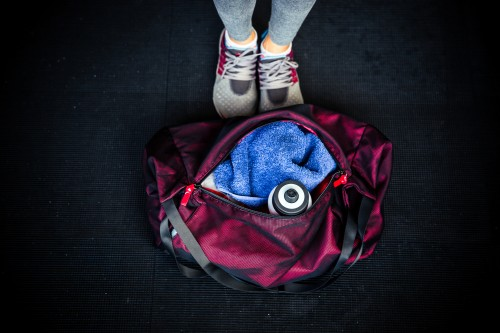 Fitness bag with female legs